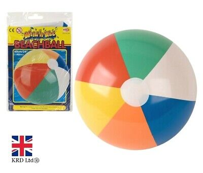 "24"" Inflatable PANEL BEACH BALL Blowup Holiday Party Swimming Garden Toy NEW UK"
