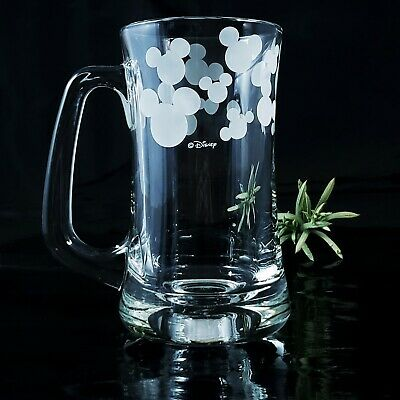 Disney Mickey Mouse Ears Head Silhouette Etched Frost Tall Mug Vintage Beer EUC