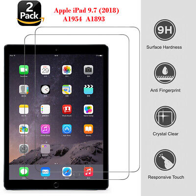 2PC Premium Genuine Tempered Glass Screen Film Protector For Apple iPad 9.7(2018