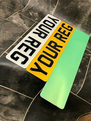 """Short Small 46Cms Number Plates 3D Gel Resins 6-7 Characters 18"""" Gloss Black"""