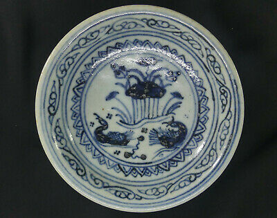 Ming Dyn. Blue & White Footed Fruit Plate! Wedding Gift with Mandarin Ducks!