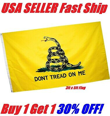 3x5 Ft DONT TREAD ON ME Culpepper Rattlesnake Tea Party Gadsden Flag - Yellow