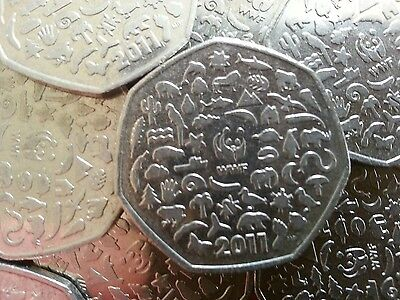 2011 50p. WWF. World Wildlife Federation. Fifty Pence. Circulated.