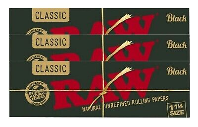 Raw Black 1 1/4 Rolling Papers Natural Hemp Wrap FRESH 3 Pack