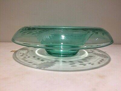 Stunning Antique Green Fostoria Rolled edge shaped Crystal Bowl w/etched flowers