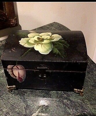 Antique Art Nouveau  Hand Painted Wood Lacquer Ormolu footed Jewelry Box