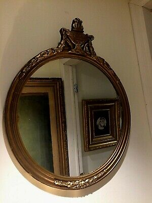 Antique French Gesso Sculpt Floral Ornate Gold Gilt Wood Frame Mirror