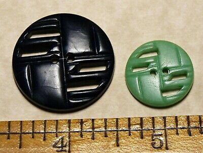 2 Vtg open work matching buttons possibly unconfirmed Colt Fire Arms Plastics