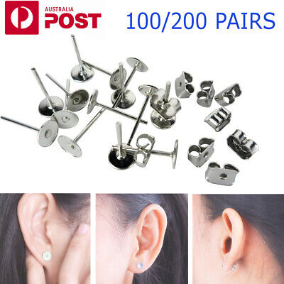 200/400PCS Earring Stud Posts 4mm/8mm Pads & Nut Backs Silvery Surgical Steel AU