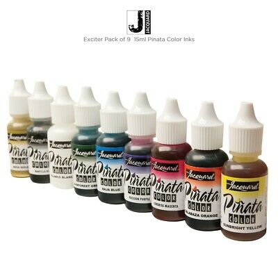 9 Colours Jacquard Pinata Alcohol Inks Exciter 9pk for Glass Wood Paper Yupo ++