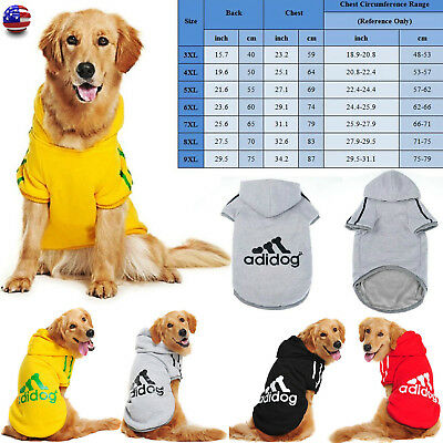 Pet Winter Coat Dog Warm Clothing Casual Cat Puppy Hoodie Sweater Adidog XS-9XL