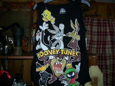 Looney Tunes Girls Junior Tank Top Shirt Size Lg 11-13 Black Novelty Bugs Bunny
