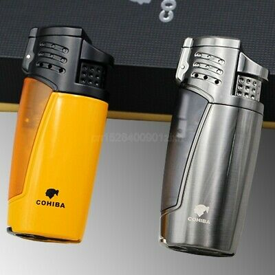 COHIBA Metal Cigar Cigarette 3 Torch Jet Flame Refillable Lighters W/Punch Box
