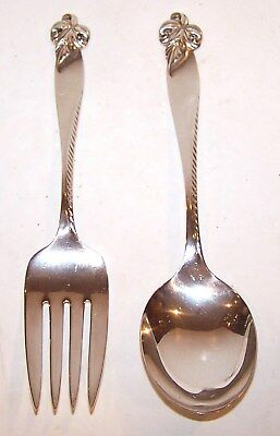 Beautiful Vintage Wallace Sterling Silver Orchid Elegance Serving Fork & Spoon