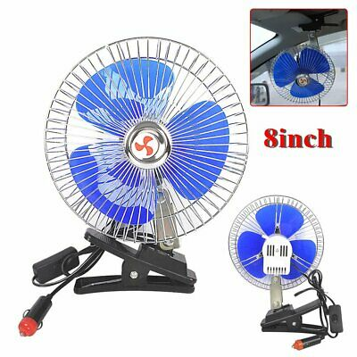"""Portable 12V 8"""" Oscillating Car Truck Cooler Fan With Clip Switch Outdoor Travel"""