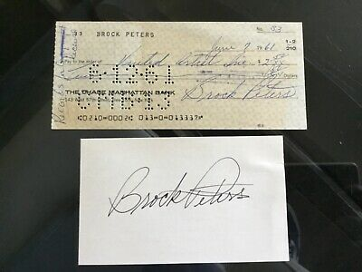 BROCK PETERS Actor & Civil Rights Activist 1961 Signed Bank Check & Index Card