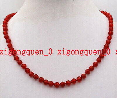 Wholesale Natural 6mm Red Ruby Round Gemstone Beads Necklace 18'' AA