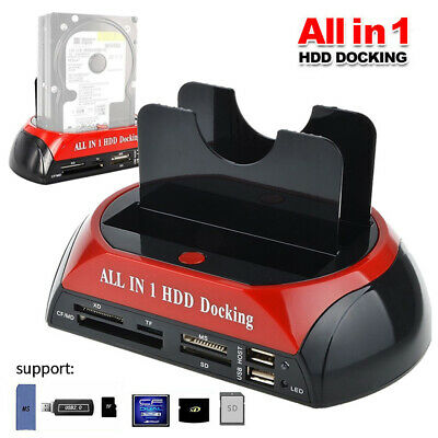 "2.5"" 3.5"" Hard Disk Drive Dock Dual SATA IDE HDD Docking Station OTB Card Reader"