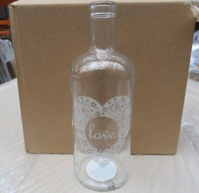 Wholesale Job Lot Pallet Of 360 X Brand New 'Love' Clear Glass Vases Rrp 6.99
