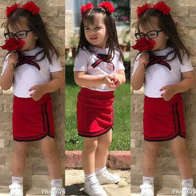 Casual Newborn Kids Baby Girl Bow Flower Tie Tops T-shirt Skirts Outfits Clothes