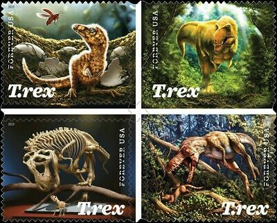 "NEW! 2019 US 5410-5413 ""Tyrannosaurus Rex"" BLOCK OF 4 STAMPS SET, MNH"