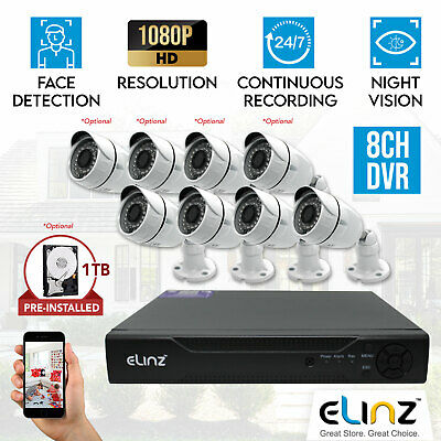 8CH CCTV Security Camera System 1080P AHD 5MP DVR Face Detection Outdoor Indoor