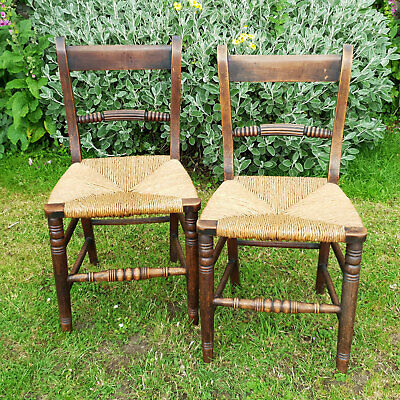 George III Pair of Rope Back Fruitwood & Rush Country Chairs C19th (Georgian)