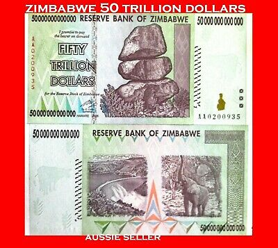 ZIMBABWE 50 TRILLION DOLLARS BANKNOTE $ UNC NOTE 2008 AA 100 T SERIES AUS seller