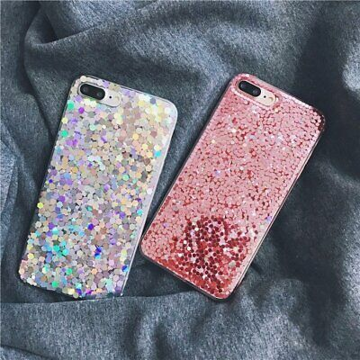 For iPhone 8 Plus 7 6 XR XS Max Bling Glitter Shockproof Soft TPU Gel Phone Case
