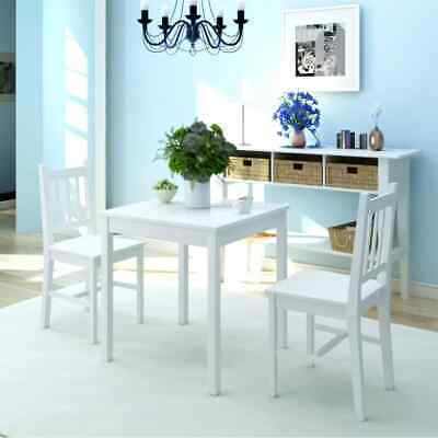 3 Piece/set Outdoor Dining Set Pinewood Table and Chairs Kitchen Furniture White