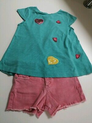 Zara Girls Denim Shorts & Embellished TShirt, Size 7 years