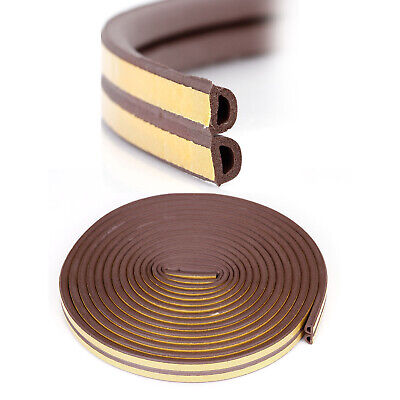 Brown 10M D Draught Excluder Self Adhesive Rubber Door Window Seal Strip Roll