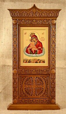 """Orthodox Wooden table copy of temple kiot Our Lady of Kazan 15.4/""""//390 mm"""