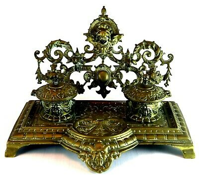 Brass Antique Desk Top Double Ink Well Stand Pen Paper holder Porcelain Inkwells