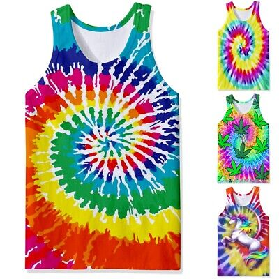 Tie Dye 3D Print Mens Muscle Gym Vest Fitness Tank Top Casual Sleeveless T Shirt