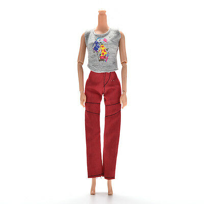 2 Pcs/Set Vest and Pants Gray and Red Clothes for Princess Dolls Gift EB