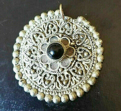 Medieval Great Ancient amulet Medallion Silvered pendant Magnificent With Stone