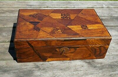 Japanese Parquetry Writing Slope, 19th Century, Signed by Maker & with Key