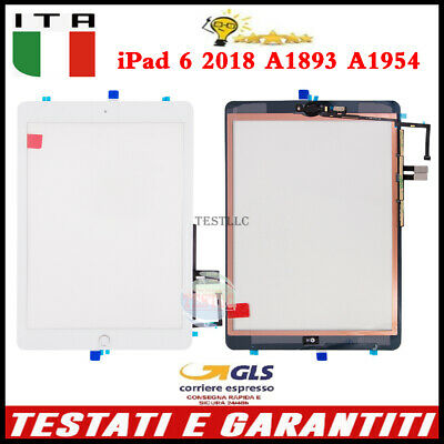 per iPad 6 2018 A1893 A1954 Touch Screen Digitizer + TASTO HOME IC  Bianco