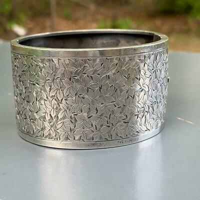 WIDE Antique Victorian Sterling Silver Engraved Floral Design Hinged Bangle