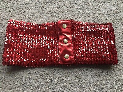 Red Party stretch Sequin Belt Retro Waspie Glitter New One Size BNIP
