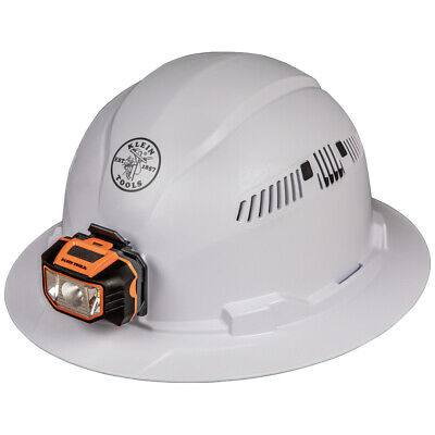 New Klein Tools 60407 Class C Type 1 White Full Brim Hard Hat Vented W/ Headlamp
