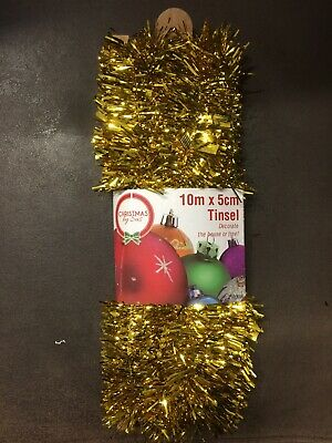 NEW - CHRISTMAS TINSEL - GOLD - 10m X 5cm