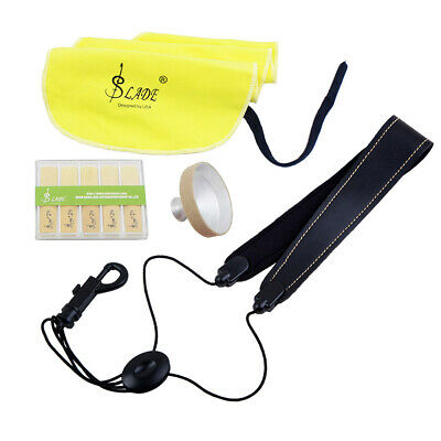 LADE 4-in-1 Alto Saxophone Sax Kit Belt Cleaning Cloth Reed Aluminum Mute B6P6