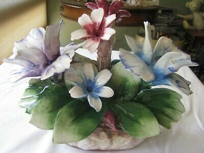 Vintage Italy Capodimonte Porcelain Flowers in Basket Bouquet