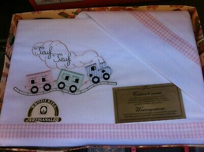 Vintage French Cotton Sheet Baby Cot Bed Embroidery Trains-Unused-90cms x 75cms