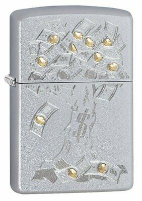 Zippo Money Tree Design, Satin Chrome Finish, Genuine Windproof Lighter #29999