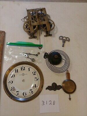 Seikosha Wall Clock Movement, Dial, Pendulum, Hands, Coil Strike Gong, Key, Fron