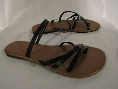 c7eb5cdff57cd Women's Time And Tru Sandals Size 9 Open Toe Flats Black/Brown Shoes Strappy