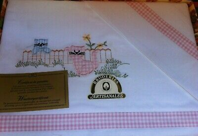 Vintage French Cotton Baby Cot Bed Sheet Embroidery Kittens-Unused-90cms x 75cms